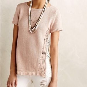 Anthropologie Moth Pink Crochet Lace Back Sweater